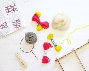 Weaving Supply Pack Lime & Pink - Weaving Loom Kit - Weaving Loom - Weaving Kit - Weaving Supplies - Weaving Yarn - Weaving Roving - Wool