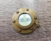 Antique Finish Brass Porthole Mirror - Necklace Pendant Charm - Nautical Maritime Captain Ship Boat  - Vintage Style Gift
