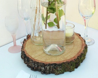 """13-14"""" slices of wood wedding table decorations, rustic centerpiece wood, Lastra tonda of wood, Wooden Slab centerpieces"""