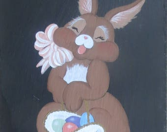 EASTER BUNNY Painted Slate