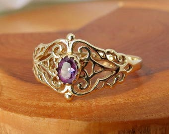 SOLD to Adonica layaway 1 vintage 9k yellow gold amethyst ring