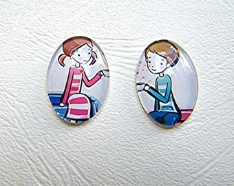 Boy and girl motif glass cabochons 18 x 25 mm sold in set