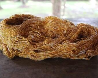 Recycled Sari Silk Yarn + Yak Wool - Yellow/White