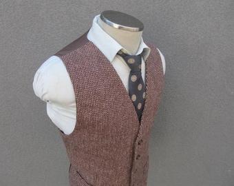 1930s Vintage Brown Vest / 30s Brown Waistcoat 42 Large Lrg / Vintage Mens Vest / Vintage Wedding / Open Weave Wool Vest / Pre World War 2