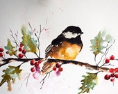 ORIGINAL Watercolor Bird Painting, Chickadee on a Branch, Christmas Art, Holly Berries 6x8 inch