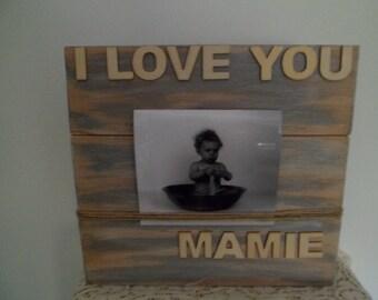 Cadre porte photo à poser en bois de palette patine grise de ci de la