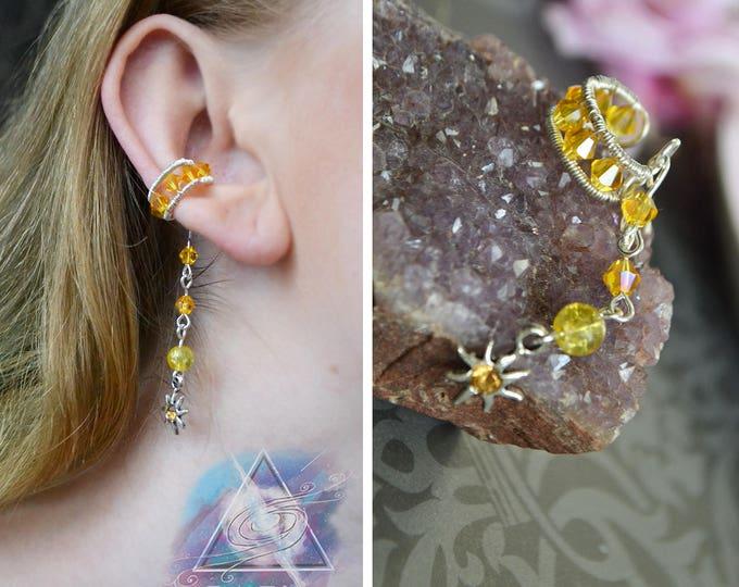 "Ear cuff ""Sun"" | silver plated earcuff, boho jewelry, casual ear cuff, quasarshop, ear cuff no pircing, boho hippie, summer, small cuff"