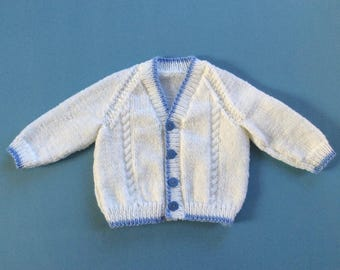 Hand knitted baby cardigan, 3-6 months, knit baby sweater, knitted baby clothes, knit toddler cardigan, 1-2 years