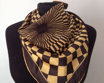 Vintage scarf, black and yellow, graphic, satin, lightweight, 4 x 67 cm