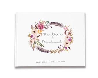 Boho Wedding Guest Book Custom, Boho Bridal Guest Book, Wedding Feather, Forest Wedding Guestbook, Color Choices Available, GB 089