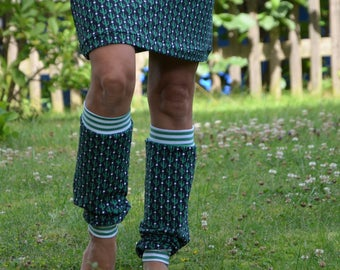 Leg warmers Black Cactus green pattern leg warmers