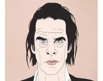 Nick Cave A4 print.