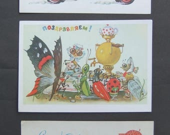 Soviet Vintage Postcards Congratulation Happy New Year Christmas illustration