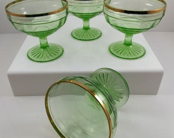 Hocking Glass Block Optic Champagne Sherbet Glasses Green Gold Band Set of 4