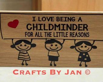 Childminders Freestanding Plaque - oak veneer 8 x 4 inch