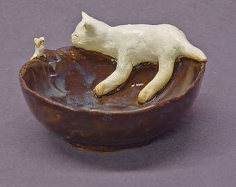 Trinket Bowl Rustic Style with a Sleeping Cat and a Mouse - Handmade Ceramic Bowl, Stoneware,Ochre, Blue, Decorative Bowl