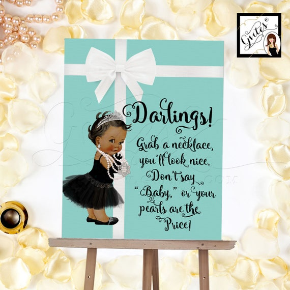 Baby Necklace Game Sign - Grab a necklace don't say baby game sign, BABY Shower printable game sign. 8x10, Customizable Baby Skin Tone ONLY!