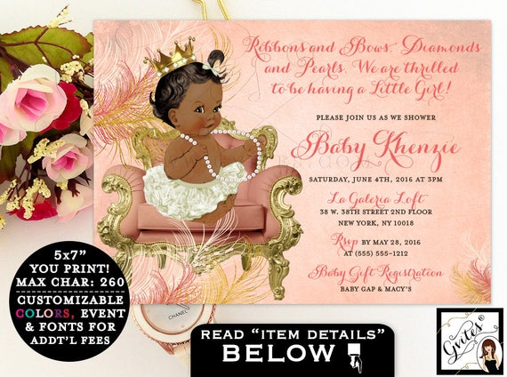 Coral and gold baby shower invitations, ribbons bows, diamonds pearls, princess african american baby girl, printable digital invitation