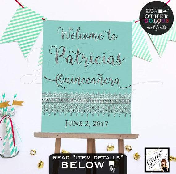 Quinceanera Welcome Signs, Sweet 16 signs Breakfast at Tiffany's silver birthday sign CUSTOMIZABLE colors and fonts. Digital File Only!