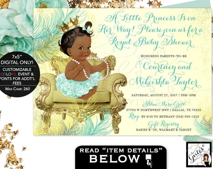 Mint Green and Gold Baby Shower Invitations, A little princess is on the way, African American invites, baby shower pearls, 7x5.