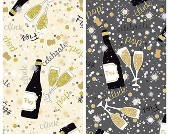 Champagne Bottle and Glasses Celebration Fabric - black bkgd/all over print [[by the half yard]]