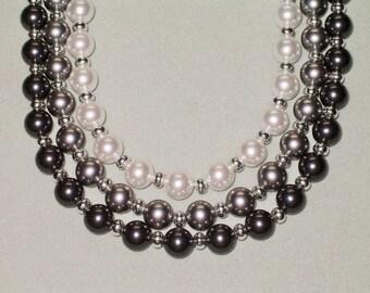 Sterling Silver/Black-Grey-White Ombre Tones Swarovski Faux Pearl 3-Strand Necklace