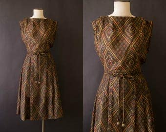 vintage 1960s dress / 60s cotton print day dress / medium / Mary Mac Dress