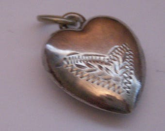 Antique Sterling Silver Puff Heart