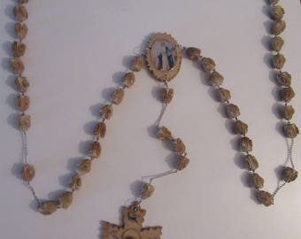 Vintage Wall Rosary with Carved Beads-SAVED from an Estate