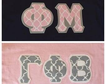 Custom Quatrefoil Greek Letter Tee, Long Sleeve or Sweatshirt (shown in Gamma Phi and Phi Mu, see description for ordering instructions)