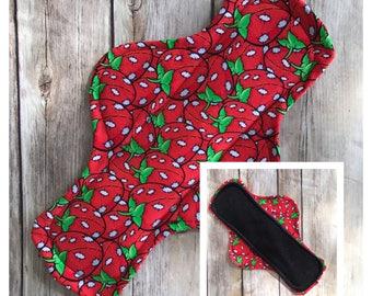 "11"" Velour Stitchberries Cloth Menstrual Pad - Mama Cloth. Strawberries  OOAK"