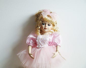 """Vintage Collectors Choice Ballerina Porcelain Doll Genuine Fine Bisque Porcelain Limited Edition Marked  Doll 17"""" tall With stand"""