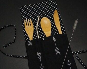 Zero waste kit, Bamboo Cutlery Kit, Zero waste, On the Go Cutlery Set, Zero waste cutlery roll. Arrow.