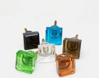 Set of 6 Cut Glass Square Knobs