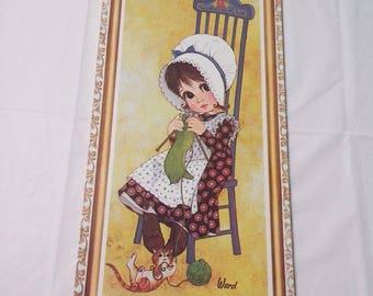 Vintage WARD Lithograph Art Big Eye Girl Wall Plaque Prairie Hat Knitting Kitty Cat Kitten VintageYay
