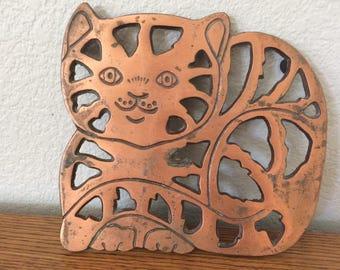 Vintage Copper Cat Trivet Old Dutch 1995
