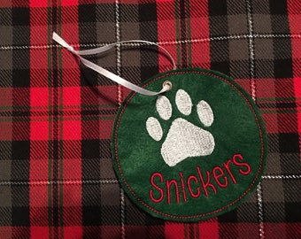 Personalized Paw Print Ornament