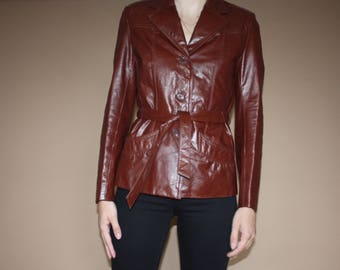 BERMAN'S Burgundy Leather Button-Up Jacket with Belt from the 1970's