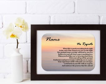 Personalised Inspirational Motivational Poem - No Regrets