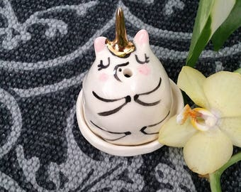Ceramic Unicorn incense burner