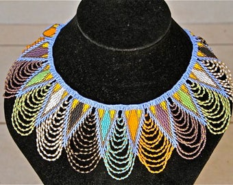 African Zulu Beaded Necklace -  Blue triangles and multicolor lace pattern