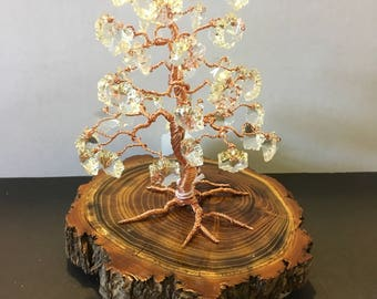 SOLD!!! COPPER wire 'Bonsai' Tree with [clear]Glass Prism SNOWFLAKE  Beads