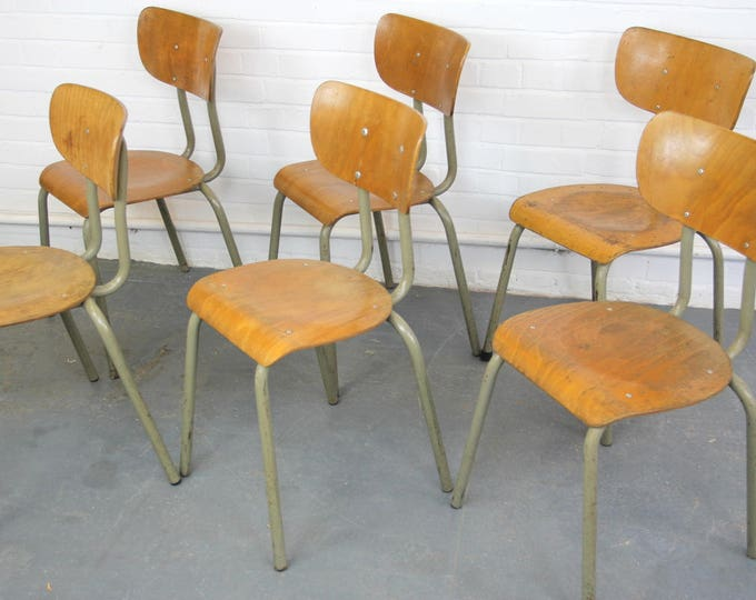 Mid Century Belgian Stacking Utility Chairs Circa 1950s