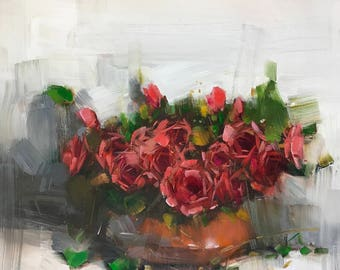 Vase of Roses, Original oil painting, painting on canvas, handmade art, impressionism, One of a kind