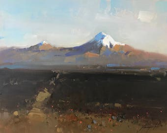 Ararat Mountain, Landscape Original oil Painting on Canvas Handmade painting, One of a kind