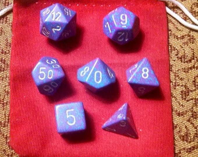 Retrocon Sale - Tropical Fish - 7 Die Polyhedral Set with Pouch
