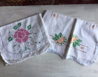 2 Vintage Embroidered Table Runners