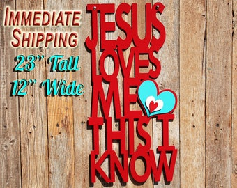 Jesus Loves Me Religious Wall Decor Nursery Wall Art Christian Wall Decor Nursery Decor Christian Decor Baby Shower Gifts Wood READY TO SHIP