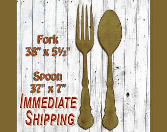Fork Wall Decor Fork Spoon Art Dining Room Decor Farmhouse Kitchen Large Fork Spoon Rustic Dining Room Retro Big Fork Spoon READY TO SHIP