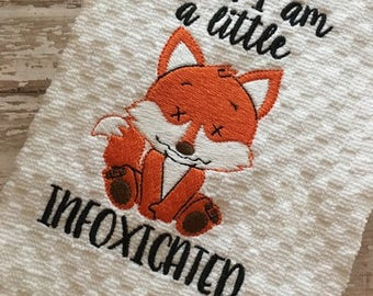 Infoxicated - Fox - Towel Design - 2 Sizes Included - Embroidery Design -   DIGITAL Embroidery DESIGN